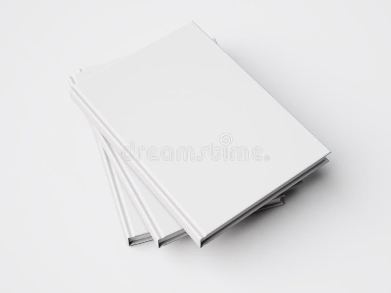 Three white books. 3d rendering stock illustration
