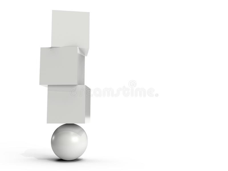 White boxes balancing on an orb royalty free illustration