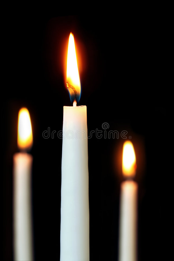 Download Three white candles stock image. Image of religious, differential - 8893493