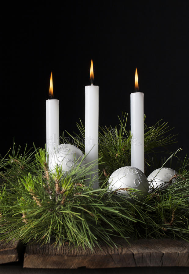 Three White Candles Christmas Ornaments 2 royalty free stock photography