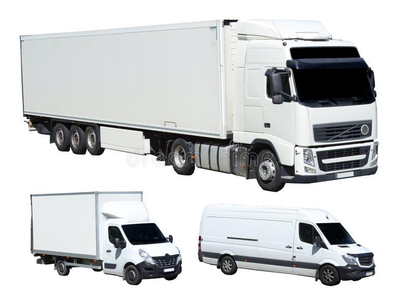 Three white cargo trucks on white background royalty free stock photography