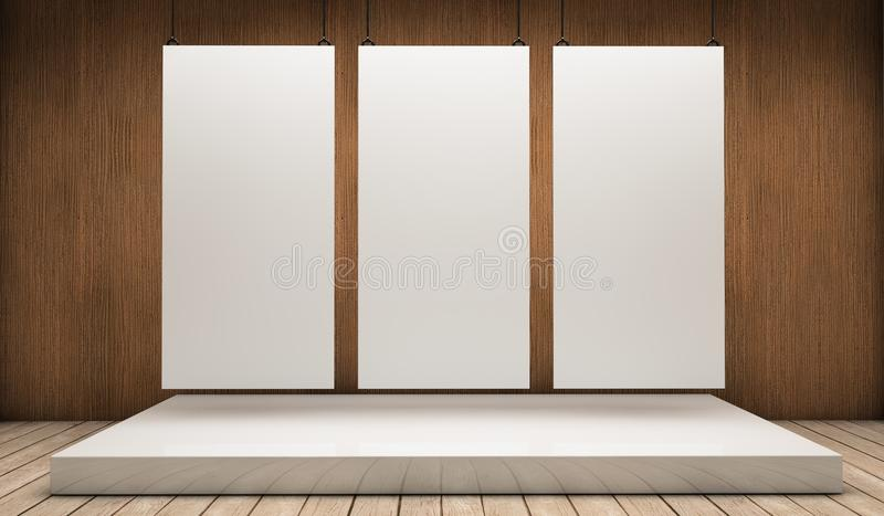 Three white exhibitor. White empty exhibitor board hang in a room with beautiful light royalty free illustration