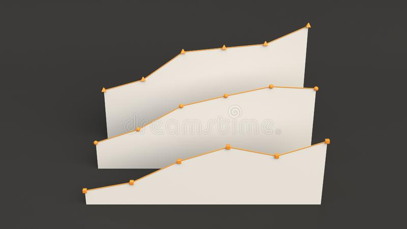 Three white flat linear diagrams on black background. Three white rising flat linear diagrams standing behind each other on black background. Infographic mockup royalty free stock images