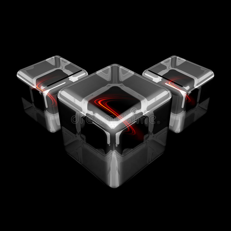 Download Three White Glass Cubes With Fiery Waves Stock Illustration - Image: 6077353