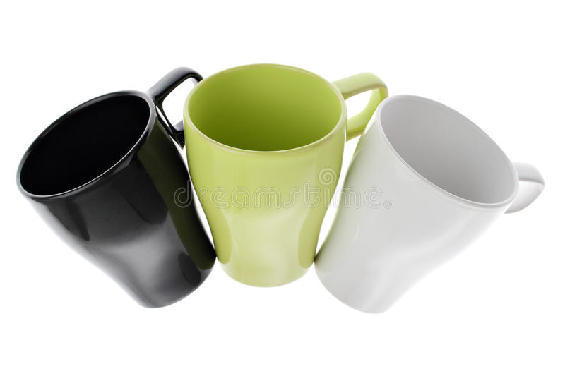 Download Three White Green And Black Coffee Cups In An Arc Stock Image - Image: 14170095
