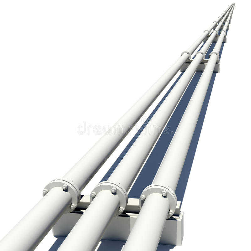 Three white industrial pipes with flanges and royalty free illustration