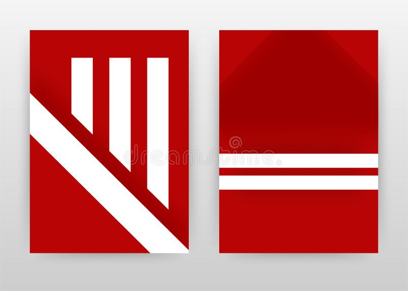 Three white lines on red design for annual report, brochure, flyer, leaflet, poster. Two white lines on red background. Abstract vector illustration