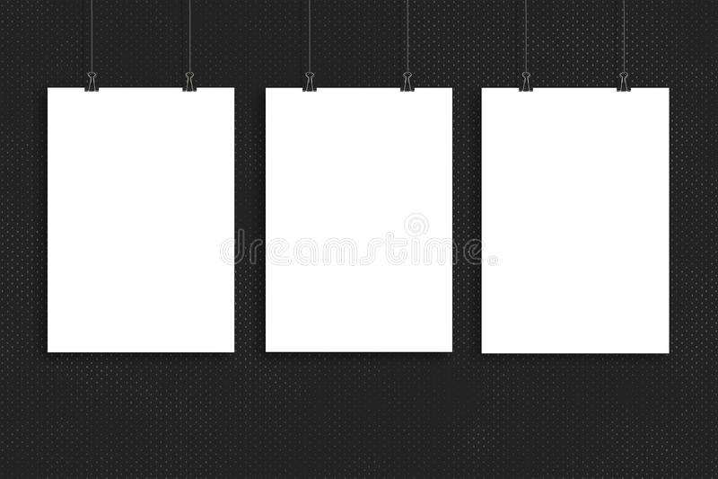 Three white paper poster mock up, Wall Mock up stock photography