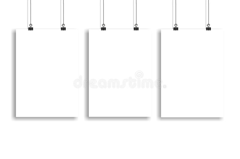 Three white paper poster mock up, Wall Mock up stock photos