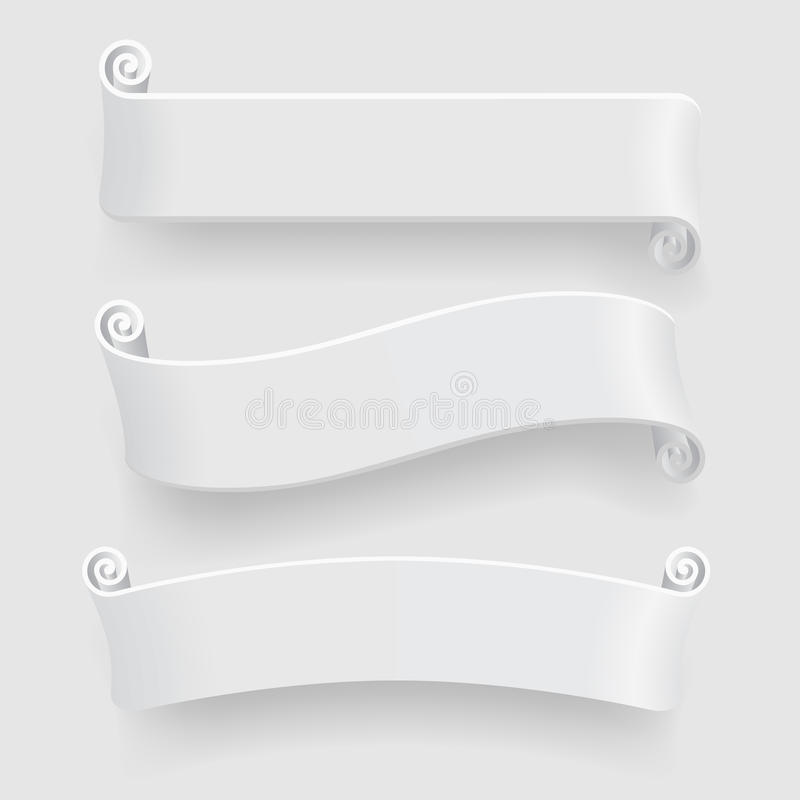 Three white ribbons with drop shadow on white background. Caption banners set without transparent objects. There is in addition a vector format EPS 8 vector illustration