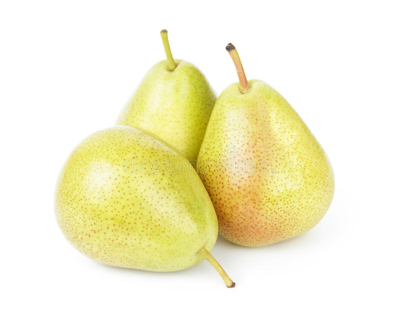 Three williams pears. Isolated on white background royalty free stock images
