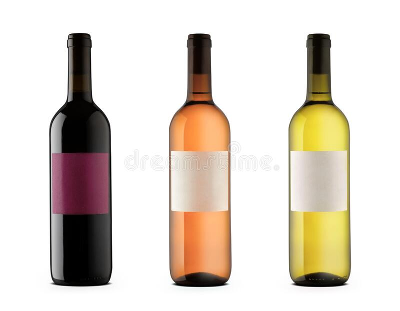 Three wine bottles with blank labels of red, rose and white wine royalty free stock images