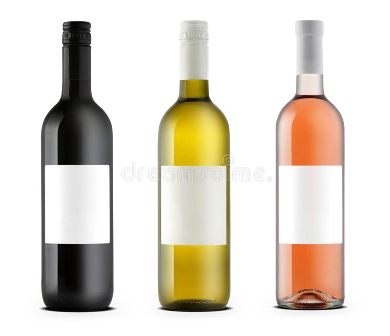Wine bottles rose, white and black royalty free stock images