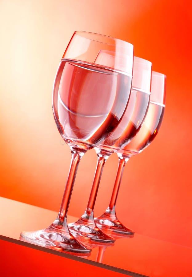 Three wine glasses stock photography