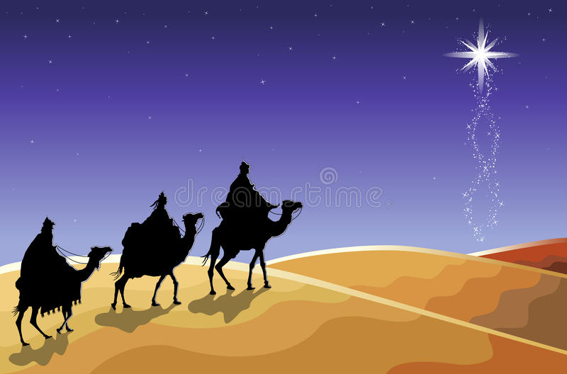 The Three Wise Men. Christmas religious card with The Three Magi following the rising Star. Vector illustration saved as EPS AI 8 is now pending inspection