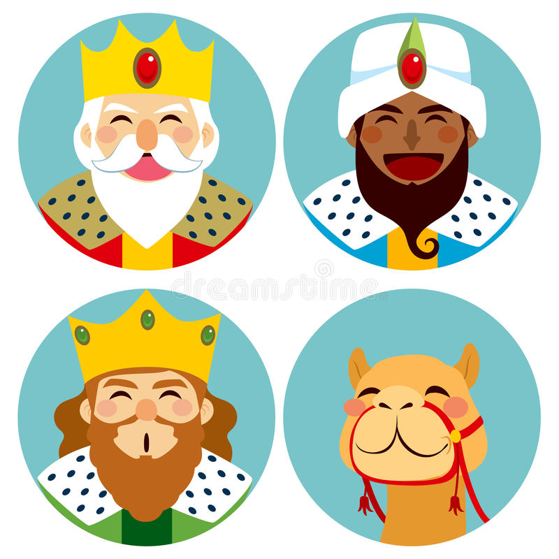 Three Wise Men Avatar Expression. Collection of three wise men avatar expression and funny camel vector illustration