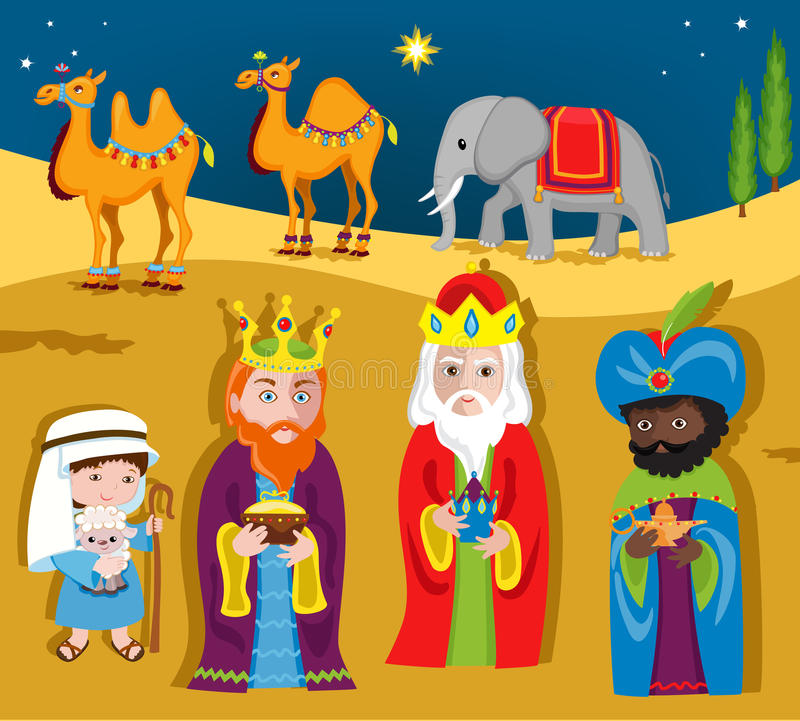 Three Wise Men bring gifts to Jesus on Christmas. Vector illustration isolated on white background stock illustration