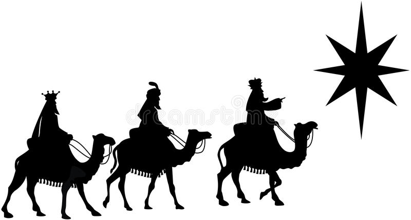 Three Wise Men on Camel Back Silhouette. Illustration featuring silhouette of three Kings travelling on camel back from the East following the Star of Bethlehem