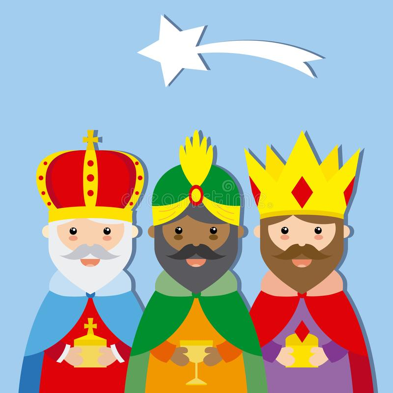 Three Wise Men. isolated vector. Three Wise Men. Melchior, Gaspar and Balthazar with blue background stock illustration