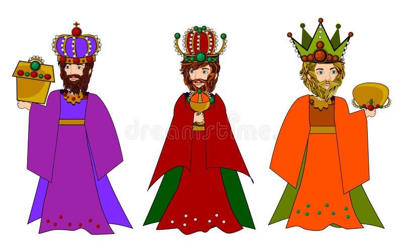 Three wise men. In nativity christmas scene vector illustration