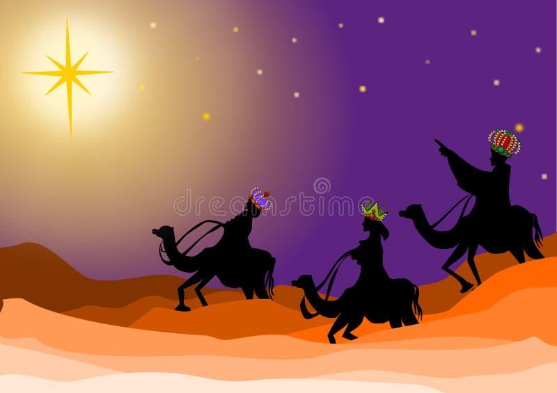 Three wise men. In nativity christmas scene background illustrations. Three kings on desert stock illustration