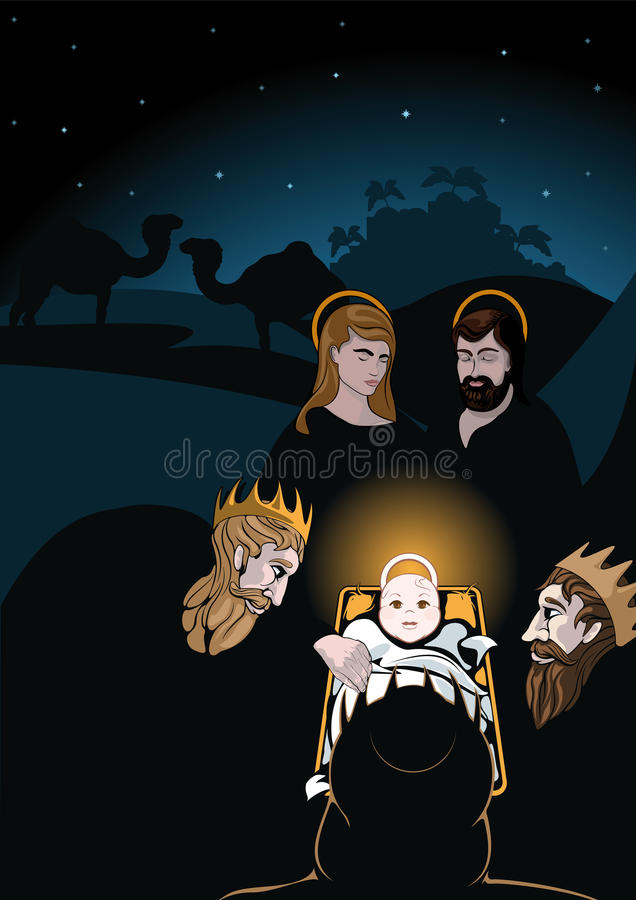 Three wise men. Nativity scene with baby Jesus in his crib surrounded by Mary Joseph and the Wise Men with a starry night sky and camels in the background vector royalty free illustration