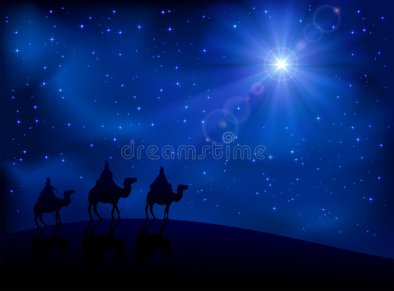 Three wise men and star. Christian Christmas scene with the three wise men and shining star, illustration