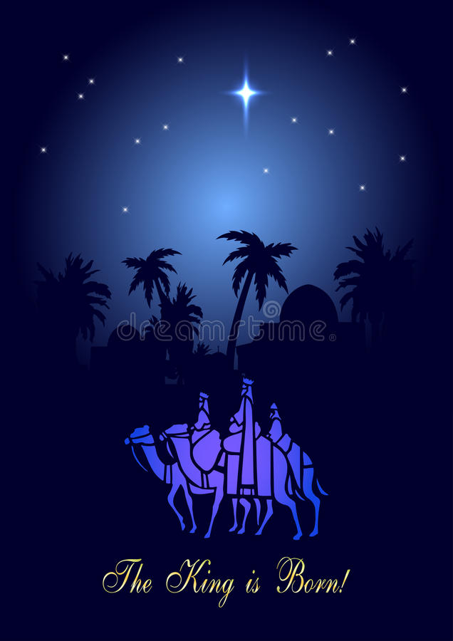 Three Wise Men are visiting Jesus Christ after His birth stock illustration
