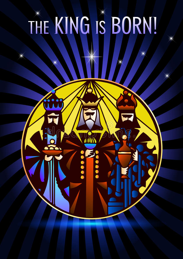 Three Wise Men are visiting Jesus Christ after His birth stock photo