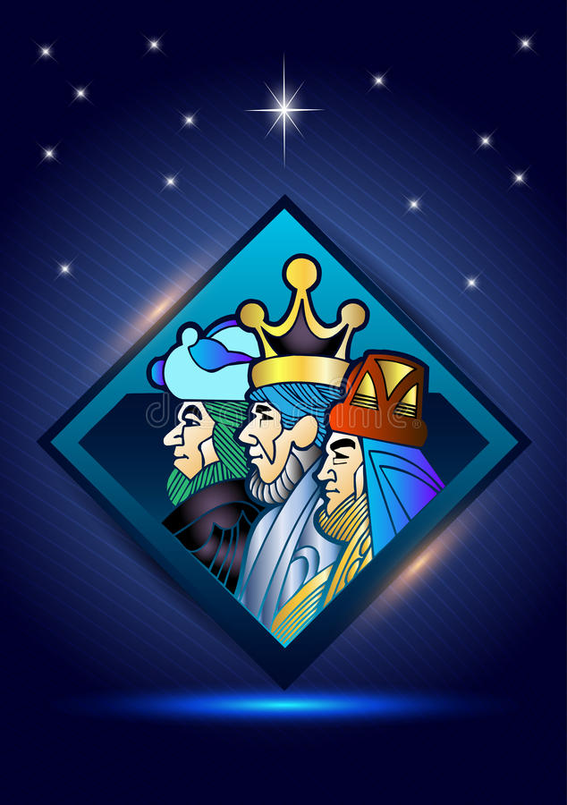 Three Wise Men are visiting Jesus Christ after His birth royalty free stock photography