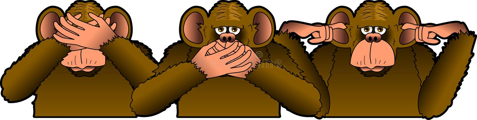 Three_Wise_Monkeys. Raster graphic depicting a cartoon of the THREE WISE MONKEYS stock illustration