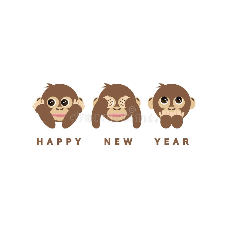 Three wise monkeys, happy new year 2016 card, vector stock illustration