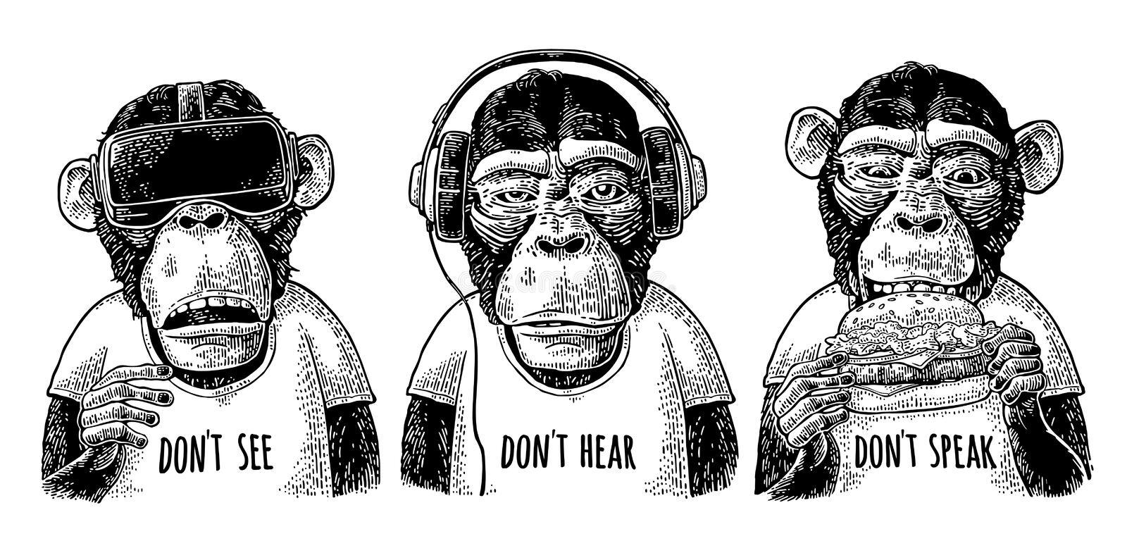 Three wise monkeys. Not see, not hear, not speak. Vintage engraving. Three wise monkeys with headphones, virtual reality headset and burger. Don`t see, don`t royalty free illustration