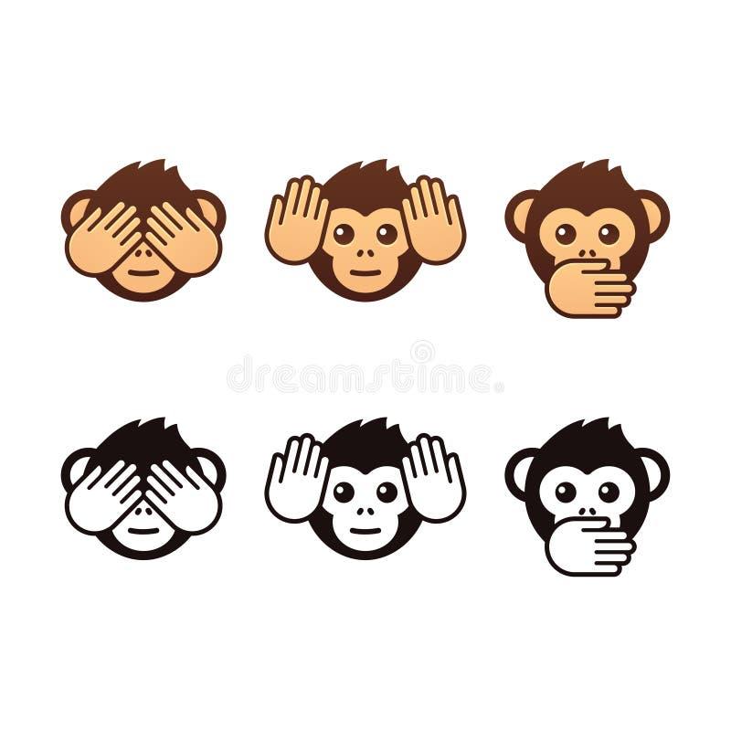 Three wise monkeys royalty free illustration