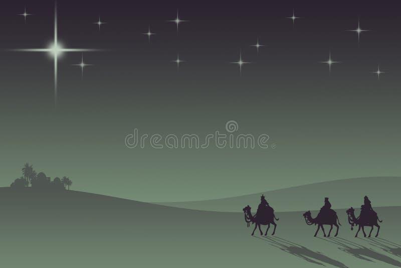 Three wisemans. And the star of Bethlehem royalty free illustration