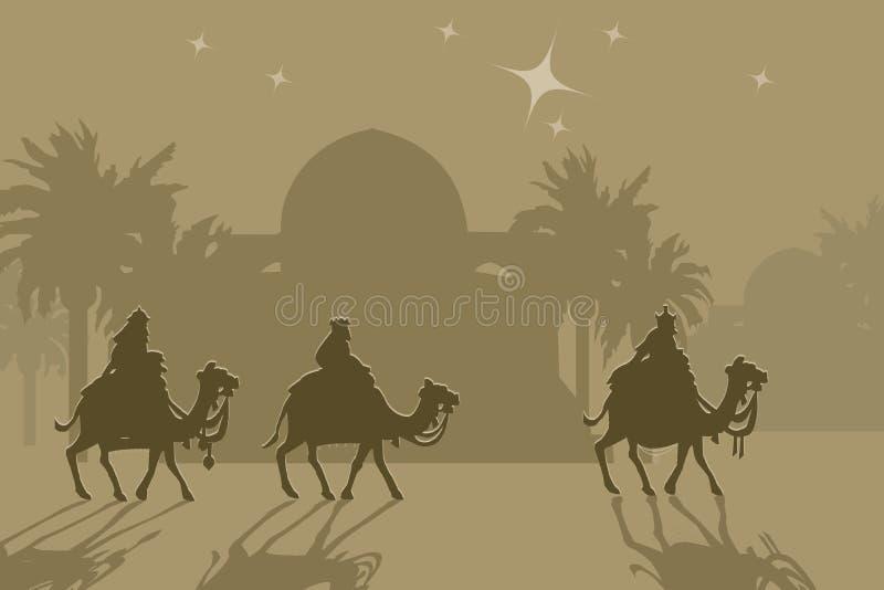 Three wisemans. And the star of Bethlehem stock illustration