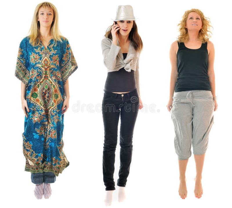 Three woman jump royalty free stock images
