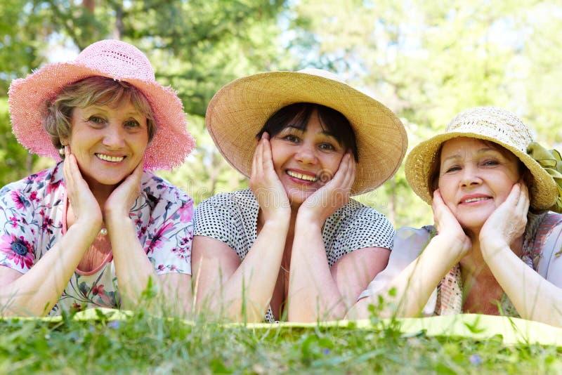 Three women royalty free stock photo