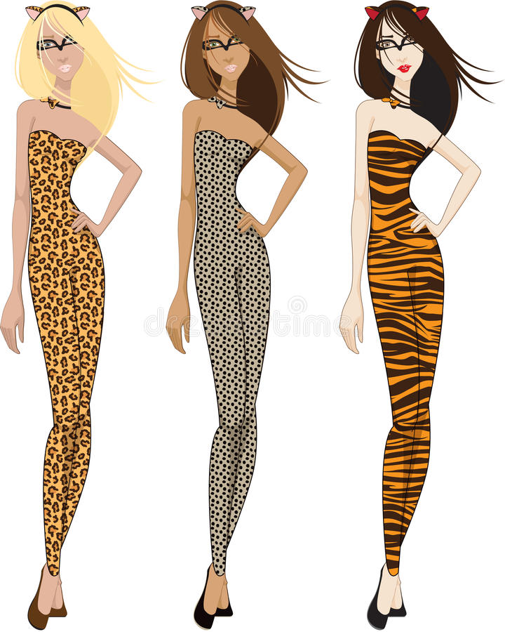 Download Three Women in Catsuits stock illustration. Image of lady - 21258712