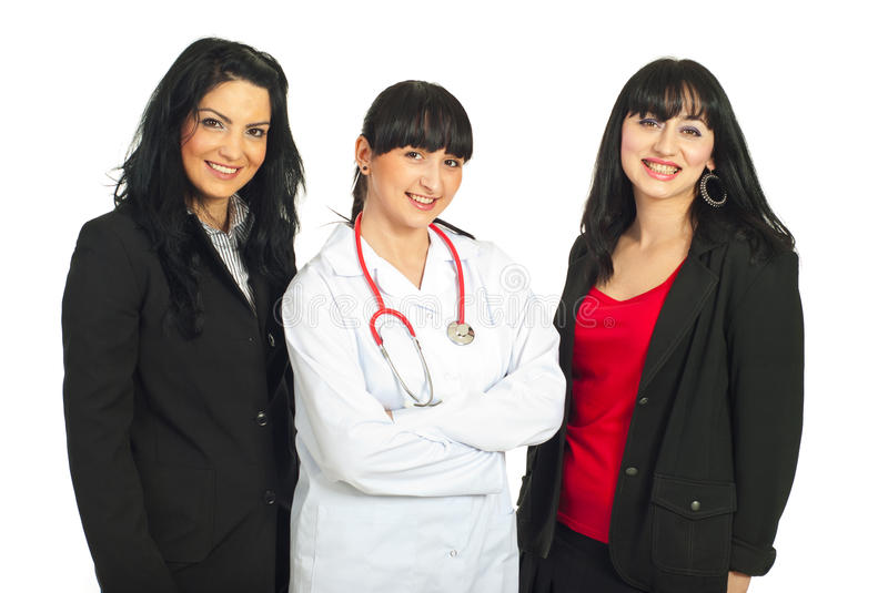 Three women with different careers stock photos