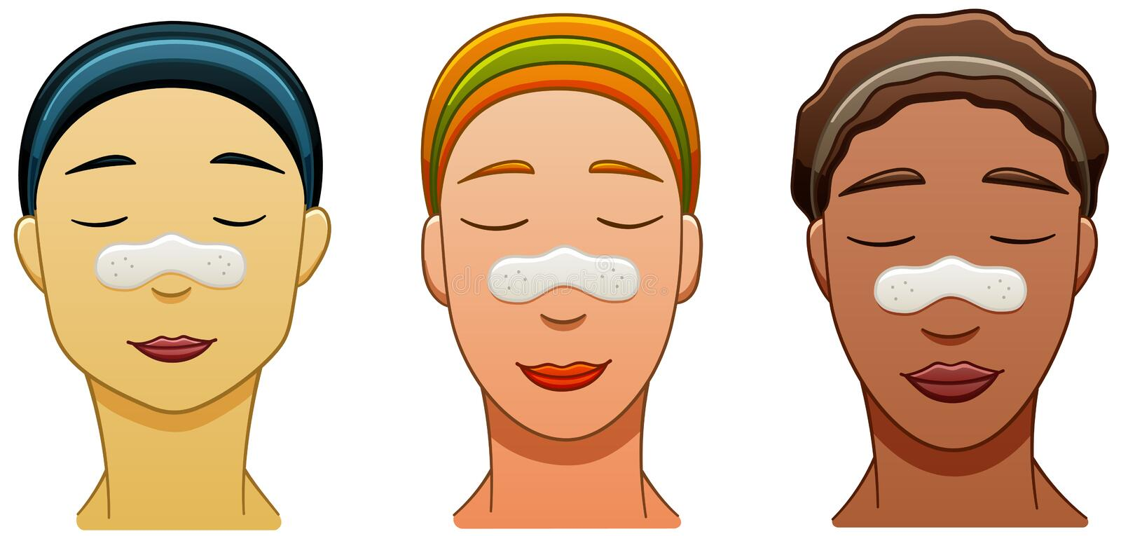 Three women with nose pore strips on their faces. Asian, European and African american smiling women with nose pore strips. White backgroun stock illustration
