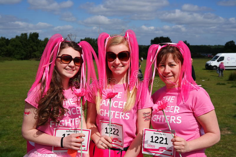 Three women at Race For Life charity event royalty free stock photos