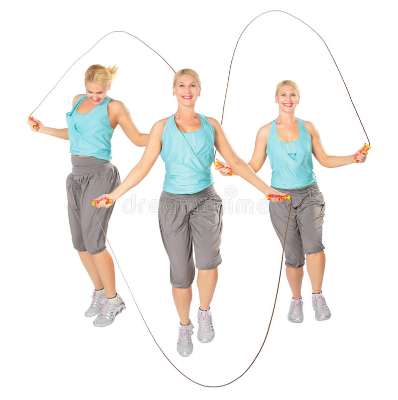 Three women with a skipping rope, collage stock photography