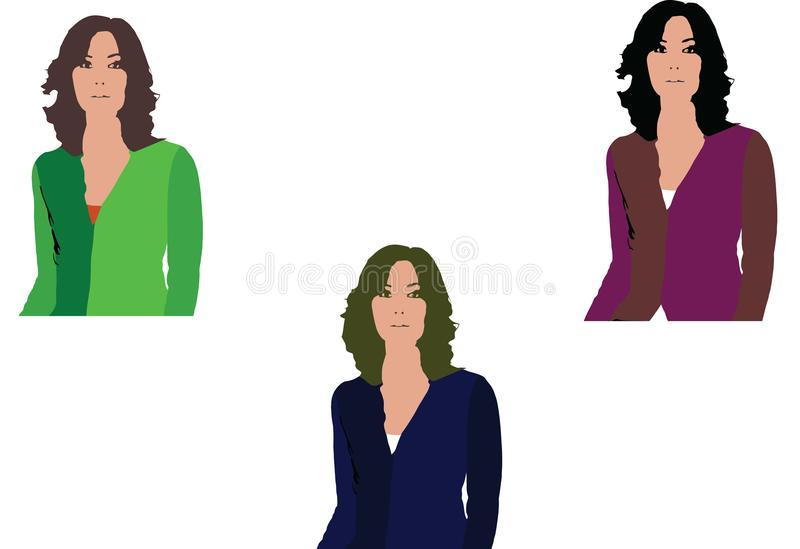 Three women sleeves dressed differently colors vector illustration