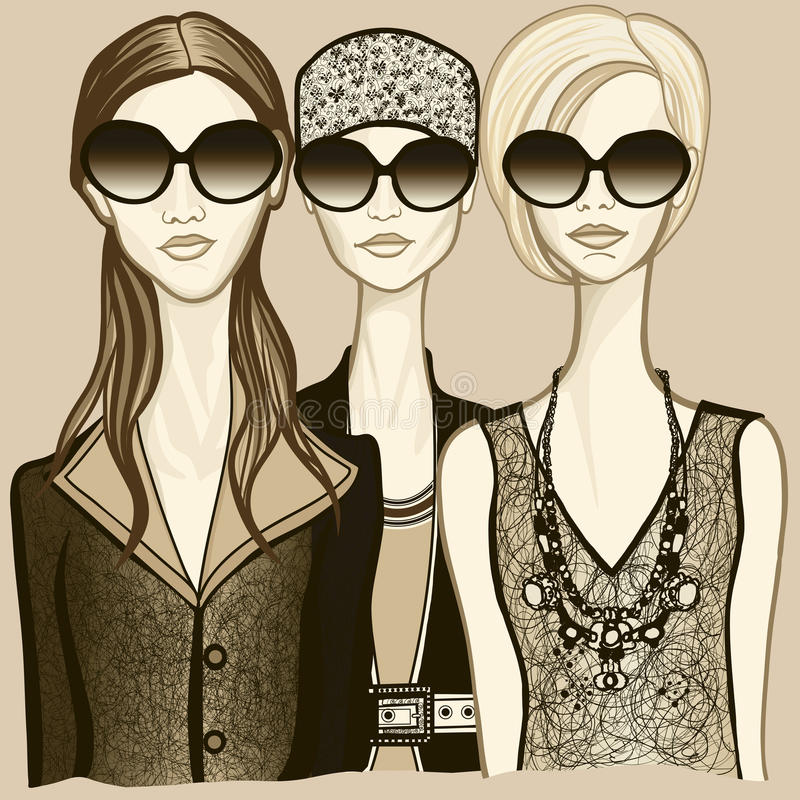 Download Three Women With Sunglasses Stock Vector - Illustration: 21953605
