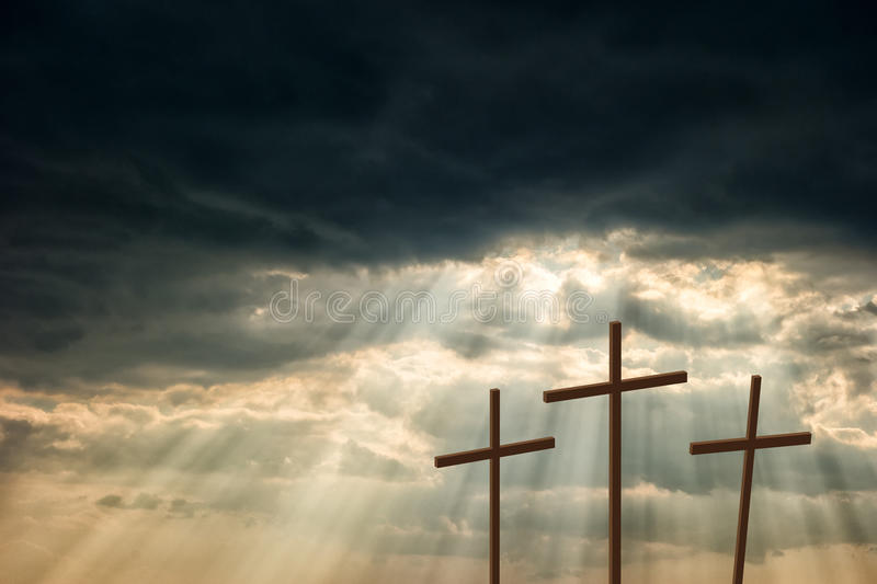 Three wooden crosses royalty free stock photography