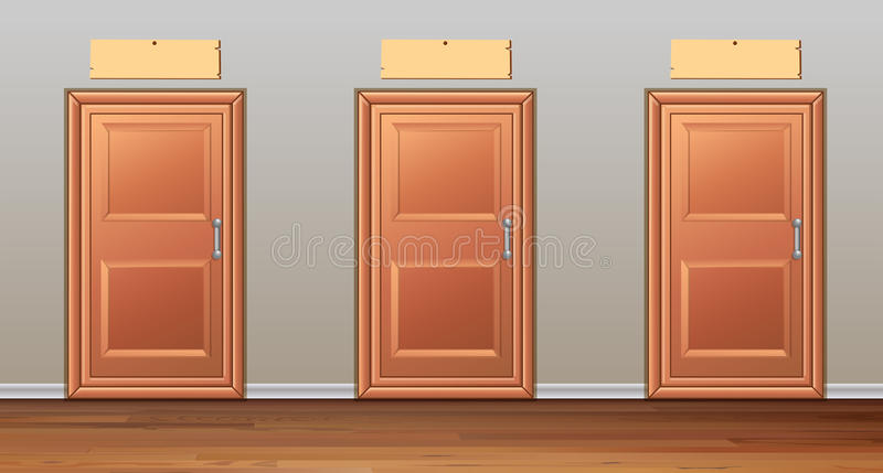 Three wooden doors in the hallway stock illustration