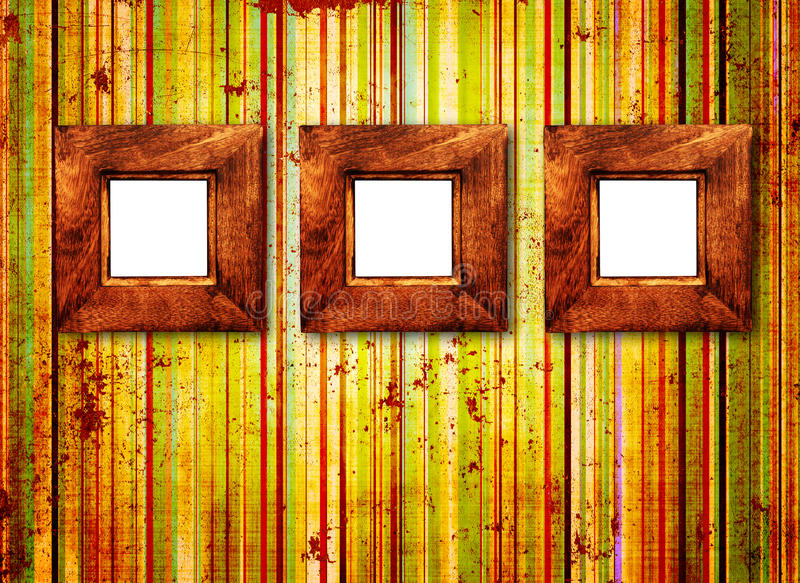 Download Three Wooden Frame On Old Wall Royalty Free Stock Image - Image: 16468936