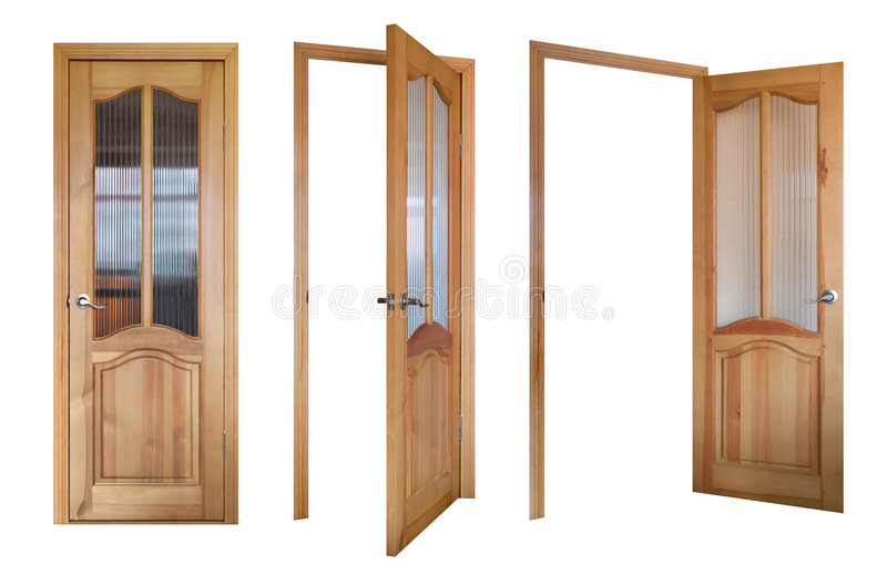 Three wooden and glass doors stock photos