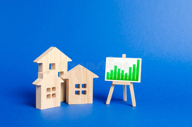 Three wooden houses and a positive trend chart on a stand. Real estate value increase. High rates of construction, high liquidity. Supply and demand. Rising stock photography